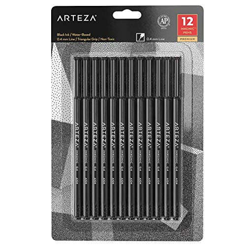 Arteza Black Fineliner Pens, Set of 12, Ultra Fine Tip Markers, 0.4 mm Tips, Art Supplies for Drawing, Sketching, Writing, and Taking Notes