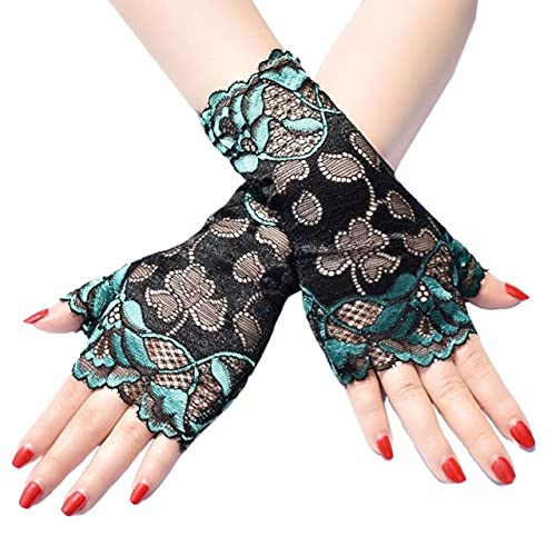 Women Summer Thin Sunscreen Fingerless Gloves Hollow Jacquard Floral Lace Contrast Color Dance Party Driving Mittens - Green