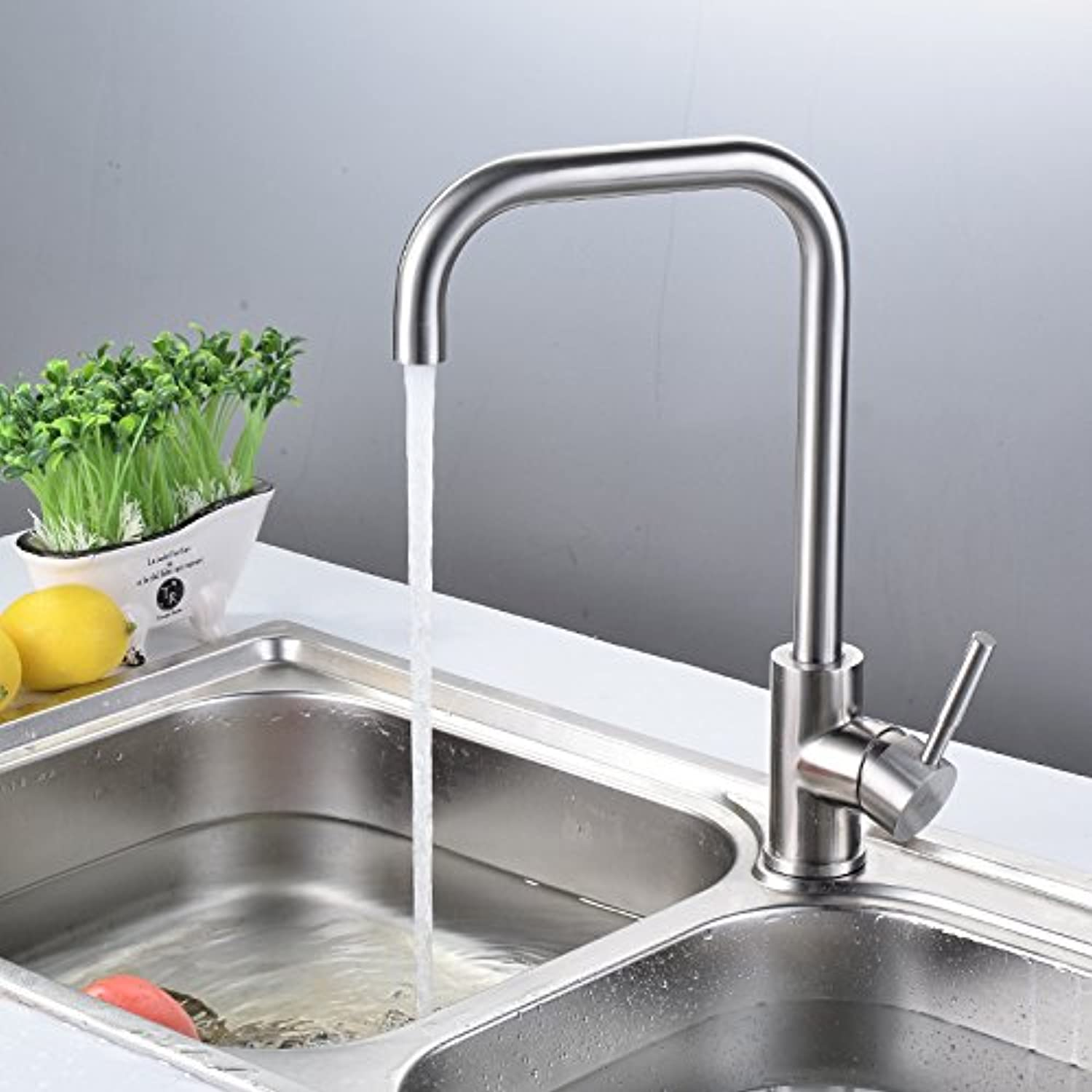Hlluya Professional Sink Mixer Tap Kitchen Faucet The Kitchen 304 stainless steel hot and cold-water faucet 304 stainless steel swivel kitchen faucet 32mm-50mm