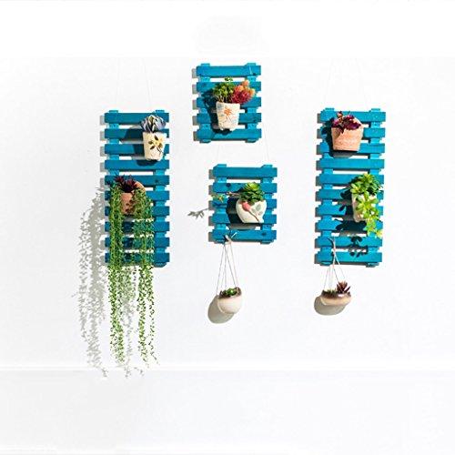 Porte-fleurs Porte-fleurs Ensemble de mur en bois massif Salon Ensemble de mur de fleurs Ensemble de mur suspendu pour balcon Ensemble de pot de plantation verte Support de fleurs ( Couleur : Bleu , taille : Les petites )