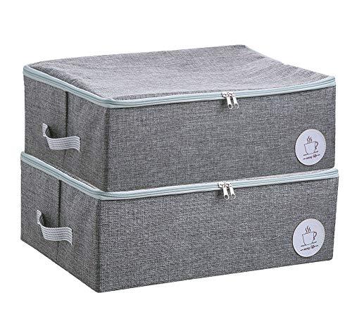 Staubdichtes Wandschrank Kleidung Aufbewahrungsboxen mit Reißverschluss, Breathable Fabric & Collapsible Design für Saisonkleidung Organisation, 2 Stück (Grau)