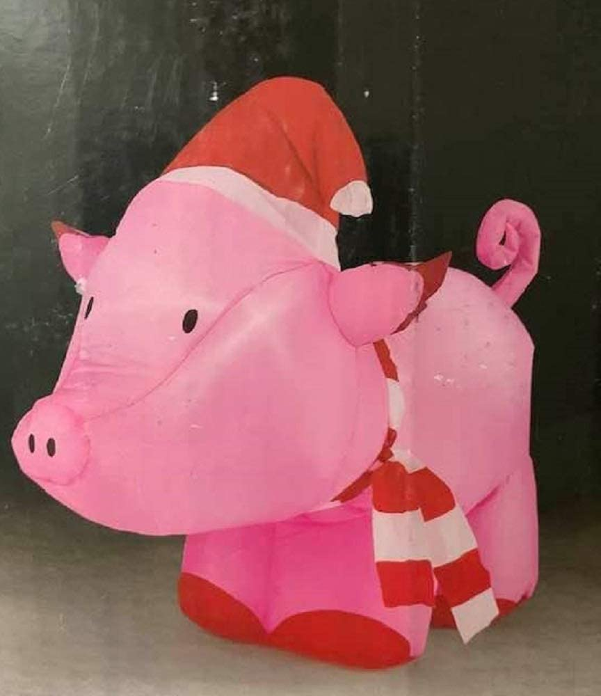 Trim Overseas parallel import regular item A Home Christmas Pig Inflatable with Complete Free Shipping Santa Hat