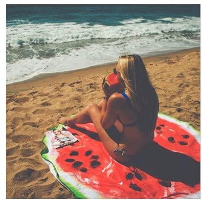 IAMZHL Donut Beach Tapete de Playa Redondo Pizza ordenada Hamburguesa Toalla de Playa Secado rápido Toalla de baño Se Puede Usar Paño de Fondo Acolchado para Amantes de la Comida-Watermelon