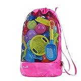 EocuSun Strandspielzeug Tasche Strandtasche Mesh Beach Bag Sandspielzeug Wasserspielzeug Rücksack...