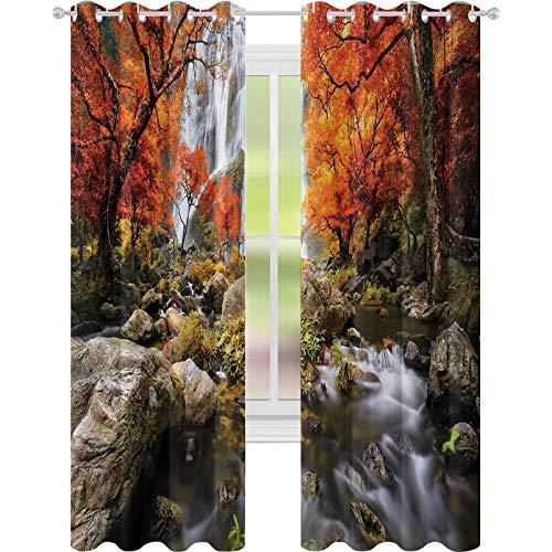 Cortina de aislamiento oscurecida con ojales, decoración de árboles, cascada tailandesa y parque río en otoño, cortina de ventana de 52 x 84 para sala de estar,