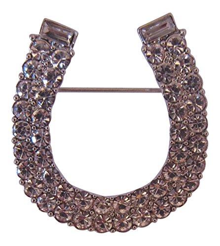 Brooch Boutique Broche de herradura de cristal chapado en plata, diseño de herradura de la suerte, ramo de flores de boda