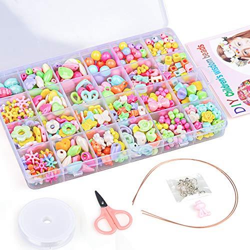 SUNTOY Schmuck Basteln für Kinder Mädchen, Schmuckset für 3-8 jähriges Mädchen Kinder Basteln Set Spielzeug Geschenk für 3-8 jähriges Mädchen Kleinkinder Geburtstagsgeschenk Alter 3 4 5 6 7 Mädchen