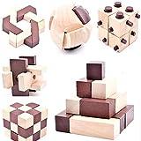 B&Julian, Rompecabezas IQ, juego de rompecabezas de madera 3D, 10 juegos de puzzle para adultos y niños