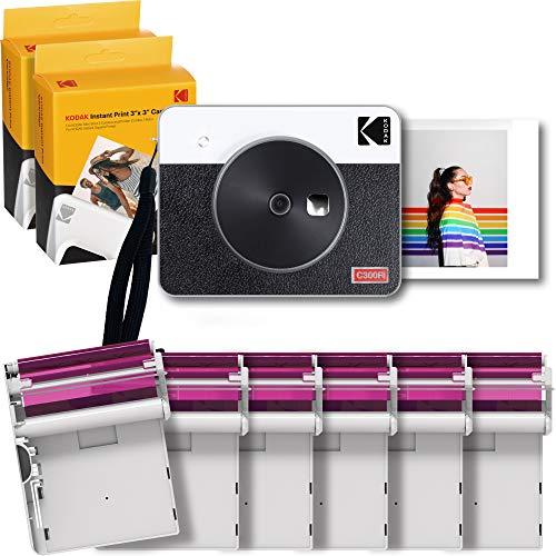 KODAK Mini Shot Combo 3 Retro Kamera & DRUCKER + 68 Bilder, 3x3 Sofortbild-Kamera/Instant-Kamera, Kameras für Sofortbilder als Polaroid Ausdruck, Fotodrucker für Smartphone, All in One Kamera