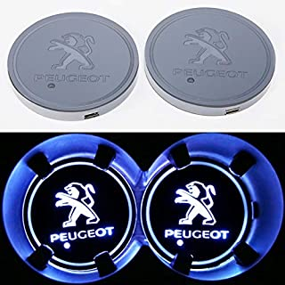 monochef Auto sport 2PCS LED Cup Holder Mat Pad Coaster with USB Rechargeable Interior Decoration Light