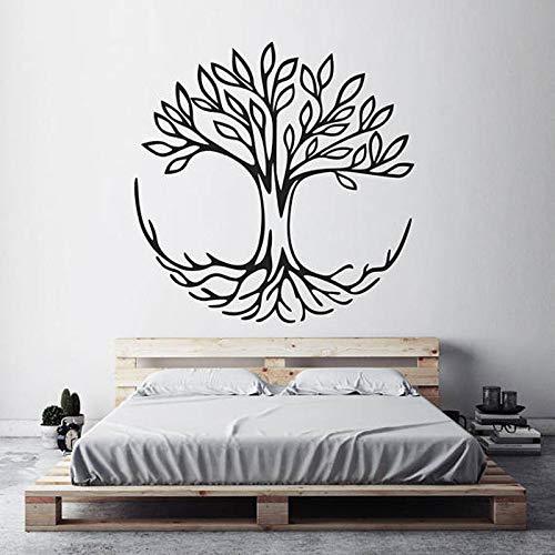 guijiumai Árbol de la Vida Tatuajes de Pared Símbolo de conexión Yoga Espiritual Decoración del hogar Sala de Estar Vinilo Etiqueta de la Pared Decoración del Dormitorio Negro 85x85 cm