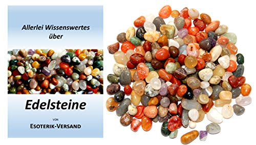 Edelsteine, bunte Trommelsteinmischung Indien, runde Steine, Größe ca. 1 cm, 250 g-Beutel, incl. 36seitige Broschüre