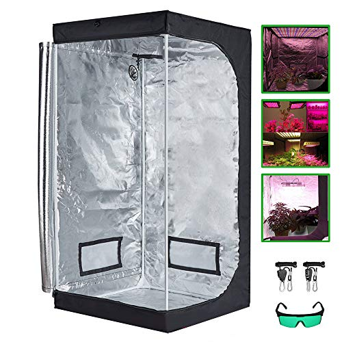 Grow Tent, Reflective Mylar Hydroponic Grow Tent, Greenhouse Planting Tent with Removable Waterproof Floor Tray for Plant Growing, with Plant Lamp Defensive Glasses and Nylon Lanyard,100x100x200cm