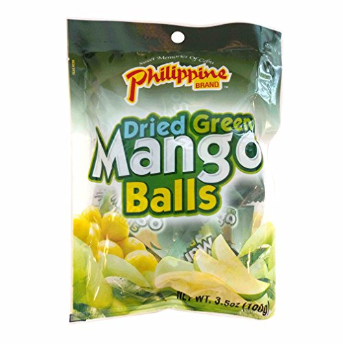 Philippine Brand Dried Green Mango Balls Chewy Fruit Snack, 3.53-Ounces Pouches