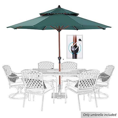 SCJ Paraguas de Patio de 9 pies con Tapas Dobles con ventilación, Paraguas de manivela Manual para Exteriores con Tela Resistente al Agua y a la decoloración