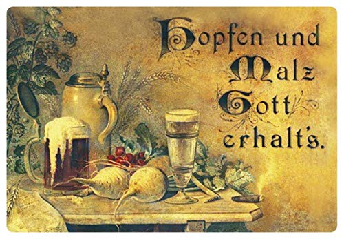 Metalen bord 30x20cm hop en mout God halt`s nostalgie bord bier tin sign