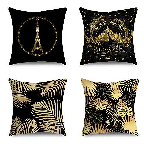 TOOYOO 4 Piezas 45 * 45cm Fundas de Cojín,Funda de Almohada Lino de algodón Decorativa Geometría Moderna para Sala de Estar, sofá, Dormitorio con Cremallera Invisible,Paris