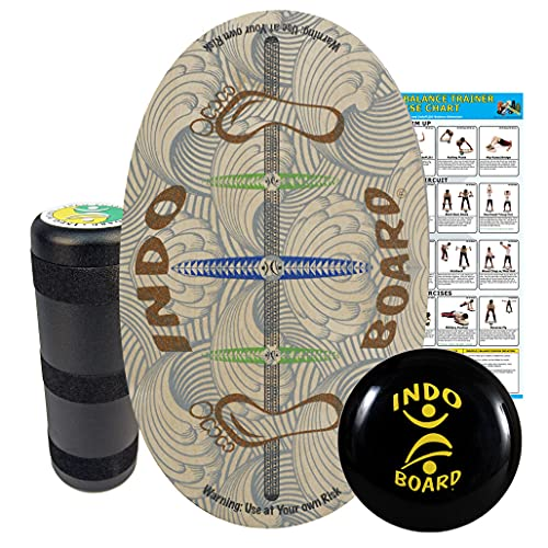 INDO BOARD Original Training Package - Barefoot Design - Balance Board for Fitness Training and Fun - Comes with 30' X 18' Deck, 6.5' Roller and 14' IndoFLO Cushion