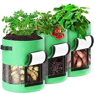 Caveen Sac de Culture de Plantes, Conteneur de Plantation de Légumes avec Fenêtre Visible Transparente à 360°, Sac Durable Respirant pour la Culture de Pomme de Terre (3 Pièces 7 Gallons, Vert)