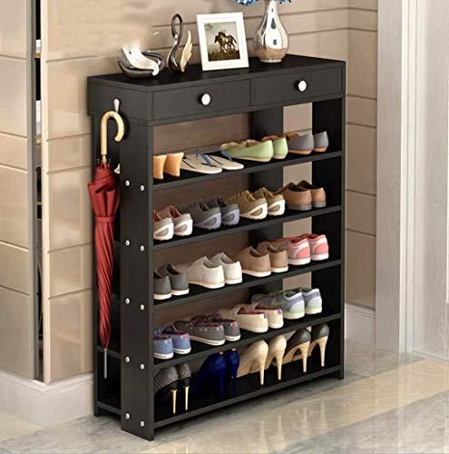 AOLI 6 Nivel de zapatos de madera estante, Zapatos Puerta de entrada almacenaje del estante con patas plana bastidores con Stand-Madera de dos cajones ahorro de espacio de almacenamiento del estante