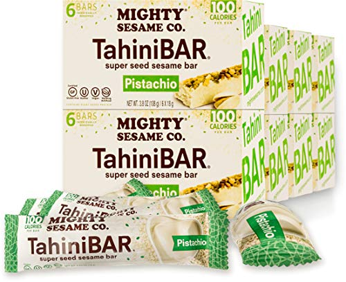 Mighty Sesame Tahini Bars with Pistachio 3.8oz (8 Pack, 48 Bars) 100 Calorie Bar, Gluten Free, Vegan, Nothing Artificial, Kosher