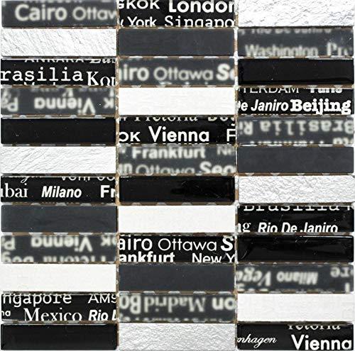 Mosaik Fliese Mosaikstäbchen schwarz Riemchen Glasmosaik Crystal Stein für WAND BAD DUSCHE KÜCHE FLIESENSPIEGEL THEKENVERKLEIDUNG BADEWANNENVERKLEIDUNG Mosaikmatte Mosaikplatte | 10 Mosaikmatten