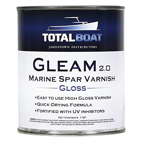TotalBoat Gleam Marine Spar Varnish, Gloss and Satin Polyurethane Finish for Wood, Boats and Outdoor Furniture (Clear Gloss Quart)