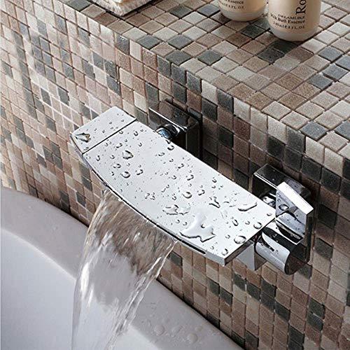 Baño Ducha grifos de la bañera cascada grifo de la ducha Negro/Blanco/oro/cromo oculto montado en la pared Mezclador de bañera grifo, cromo