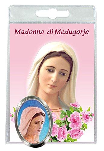 Ferrari & Arrighetti Imán Virgen de Medjugorje de Metal niquelado con oración en Italiano (Paquete de 3 Piezas)