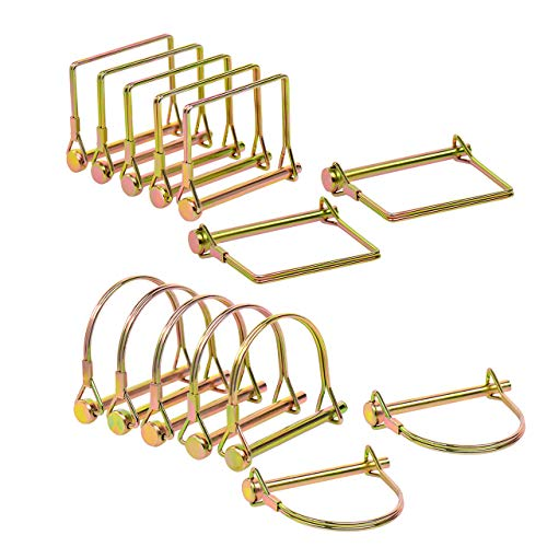 14 Pieces Shaft Locking Pin Safety Coupler Pin for Farm Trailers Wagons Lawn Garden 1/4 Inch Diameter in 2 Shapes of Square and Arch,Gold (Gold)