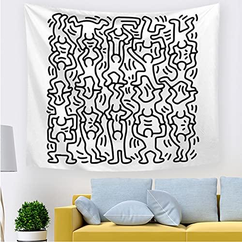 Zoiernuiastrop Psicodélico anime villano tapiz blanco y negro tapiz de pared abstracto línea arte textura tapiz hippie pared colgante creativo impresión color exquisito tapiz de pared