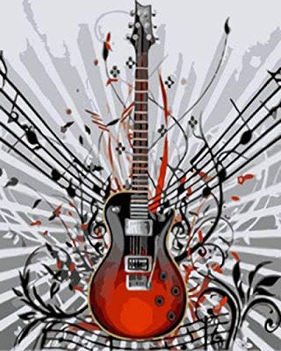 Verf op nummer Muzieknoten Gitaar DIY Handgeschilderd olieverfschilderij op canvas 3D-kunst aan de muur voor moderne abstracte kunst aan de muur Decor voor woonkamer Slaapkamer Kantoor 40x50cm Geen lijst