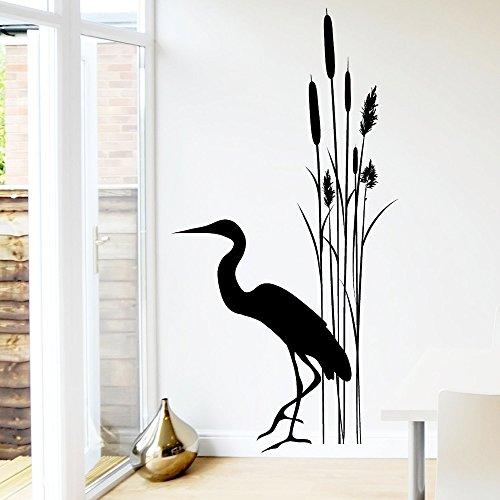 Wandtattoo-Loft Wandaufkleber Schilf Bambus Strauch mit Kranich/grau / 55 cm breit x 107 cm hoch