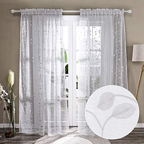 Deconovo Patterned Sheer Curtains 84 Inches Long Rod Pocket Floral Embroidered White Sheer Curtains Panels with Leaf Pattern for Living Room- 2 Panels, Each 52x84 in, White