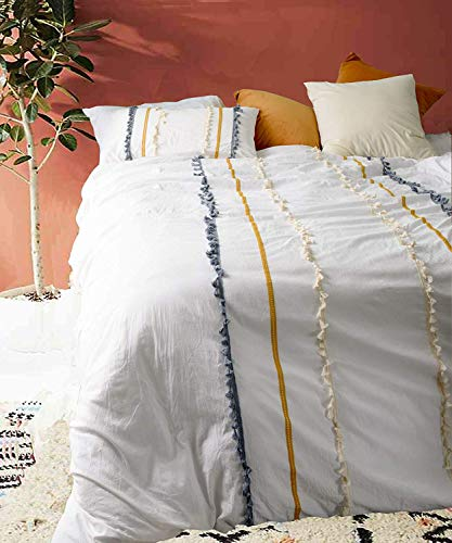 Flber Boho Duvet Cover Queen Cotton Bedding White Comforter, 86inx90in