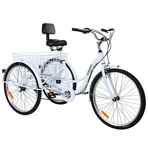 MuGuang Dreirad Für Erwachsene 26 Zoll 7 Geschwindigkeit 3 Rad Fahrrad Dreirad mit Korb Rahmen aus Aluminiumlegierung(Weiß)