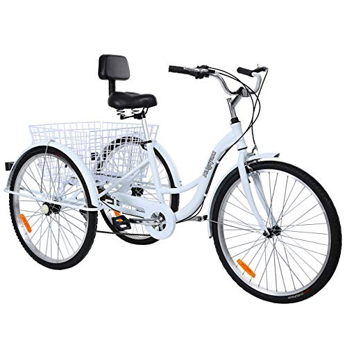 Ridgeyard 26'' 7-Speed Adult Tricycle Aluminum Frame 3 Wheeled Cruise Trike Bike with Shopping Basket (White)