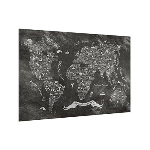 Bilderwelten Panel antisalpicaduras de Cristal - Chalk Typography World Map - Horizontal...