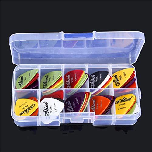 WOQOOK - Púas para guitarra Alice mate + 1 caja de plástico para púas eléctricas acústicas, Como se muestra en la imagen.