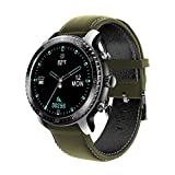 Tinwoo Smart Watch for Android / iOS Phones, Health Tracker with Heart Rate Monitor, Bluetooth Sports Monitor Tracker, Digital Smartwatches for Women Men, 5ATM Waterproof (PU Band Green)