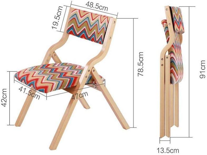 Bois massif Chaise pliante Dossier Chaise de salle à manger Chaise de réception Ménage Loisir bureau de famille Café (Color : A18) A6