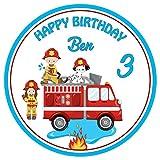 Tortenaufleger Tortenbild Geburtstag Kindergeburtstag Feuerwehr Wunschtext und Foto 20 cm Ø TA2094