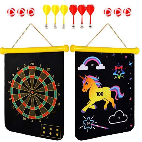 Toyssa Magnetic Dart Board for Kids Unicorn 2 in 1...