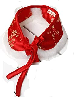 Ronshin Home for Pet Furry Collar Bowknot Tie New Year Chinese Tang Dynasty Necktie for Cat Dog Puppy Supply red S