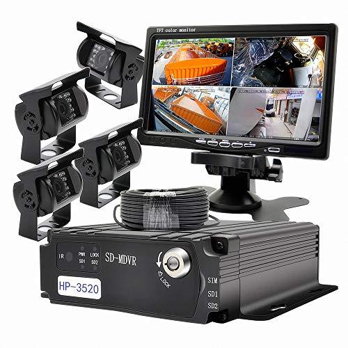 Wen et Cheng 4 canaux 720p Mobile AHD DVR temps réel Enregistreur vidéo/audio avec télécommande + 4 pcs étanche 18 IR LED Caméra HD + 17,8 cm TFT LCD Moniteur Couleur + 4 pcs Câbles, boîte noire de voiture Système de sécurité