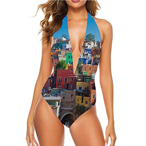 Tstyrea Guanajuato,V Neck One Piece Swimsuits Bathing Suits Beach Swimwear for Women Mexico XL
