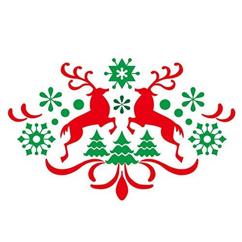 Coseyil Weihnachten Wandaufkleber Snowflake Fawn Innovative Elk Wandaufkleber Cartoon Deer Snowflake Tree Wandaufkleber