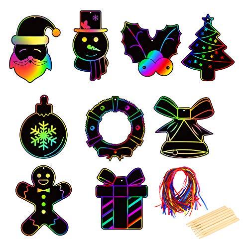 LOPOTIN 36pcs Papel Rascar Infantil Art Scratch Navidad de Diseño Corona Campatillas Bola Galleta de Hombre Jengibre Caja Regalo 9 Diseño de Tema Navideño Pintar Dibujos Pintura Tarjeta Regalos