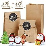 SIMUER 100 Stück Kraftpapiertüten Braune Papiertüten Papierbeutel Kraftpapier für Geschenktüten Gastgeschenke Weihnachts-Geschenktüte Geburtstag Hochzeit, 9 x 17 x 5.5 cm