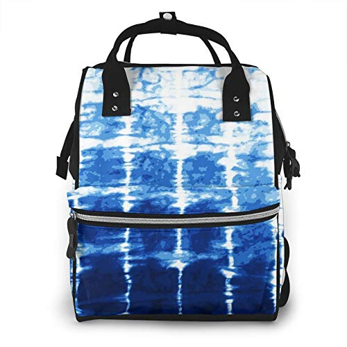 Nappy Changing Bag Backpack, Large Diaper Bags Navy Indigo Tie Dye Multi-Function Waterproof Maternity Nappy Back Pack for Baby Care Mom Dad Travel